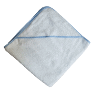 Gepersonaliseerde badcape wit / blauw