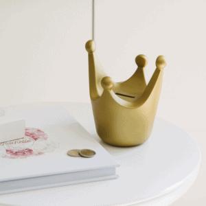 Gepersonaliseerde spaarpot kroon goud