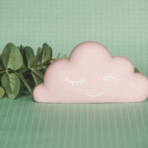 Gepersonaliseerde spaarpot wolkje roze